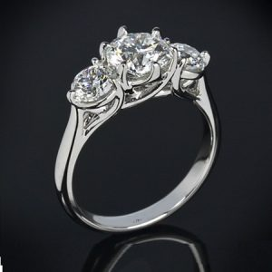 3-Stone Brilliant Cut 2.50Ctw Solitaire Round Moissanite Engagement Ring Solid 14k White Gold