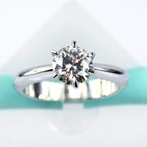 1.25 CT Near White Round Moissanite Solitaire Engagement Ring 925 Sterling Silver