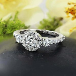 1.68 Ct Round Cut Brilliant Moissanite 3 Stone Halo Engagement Ring 925 S Silver