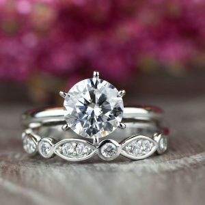 Huge 2.50 CTW Round Cut Moissanite Luxury Engagement Ring Set Solid 14K White Gold