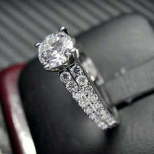 1.57 CT Classic Round Moissanite 2-Row Accents Wedding & Engagement Ring 14k Gold Plated