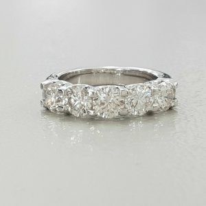 2.25 Ctw Round Cut Diamond U-Prong Setting 5-Stone Wedding Ring Real 14k White Gold