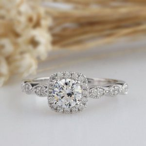 Art Deco 1.67Ct Brilliant Moissanite Halo Engagement Ring Real 925 Sterling Silver