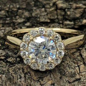 1.75CT Near White Round Moissanite Flower Halo Engagement Ring 14K Yellow Gold Plated