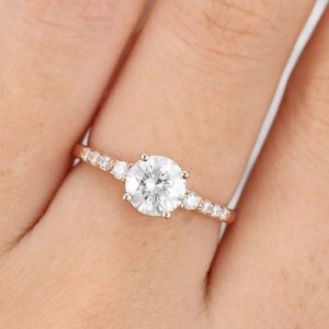 1.76CT Round Brilliant Moissanite With Assents Engagement Ring Solid 14K Rose Gold