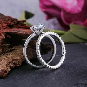 1.50CT Round Moissanite Engagement Ring Full Eternity Wedding Bend 925 Sterling Silver