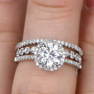 2.CT Excellent Cut Round Moissanite Engagement Ring Wedding 2 Pcs Set 925 Starling Silver