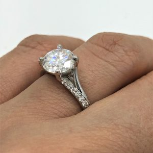 Unique Engagement Ring 2.00CT Round Moissanite Ring 14K White Gold Plated