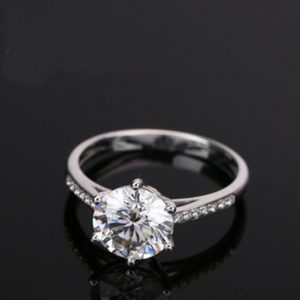 2.30Ct Excellent Cut Moissanite 6-Prong Solitaire Engagement Ring 925 Starling Silver