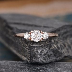 3-Stone 2.10CT Round Moissanite Best Engagement Ring 14K Rose Gold Plated