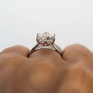 3.CT Solitaire Round Moissanite Unique Engagement Ring 14K White Gold Plated