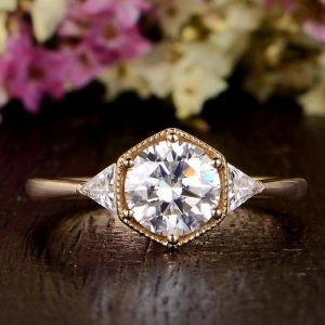 2.CT Round Moissanite Side Trillion Assents Engagement Ring Solid 14K Rose Gold
