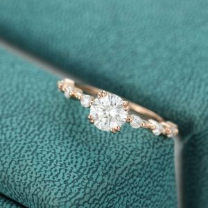 1.50CT Brilliant Round Moissanite Engagement Ring Promise Ring 14K Rose Gold Plated