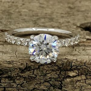 1.50CT Near White Round Moissanite Classic Engagement Ring 14K White Gold Plated