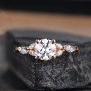 1.75CT Solitaire Round Cut Moissanite Antique Engagement Ring Solid 14K Rose Gold