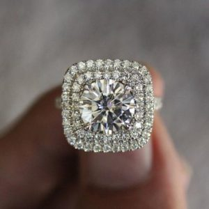 Classic 2.50CTW Round Moissanite Double Halo Wedding Engagement Ring 14K Gold Plated