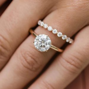 1.80CT Solitaire Round Moissanite Engagement Ring Wedding Band 14K Rose Gold Over