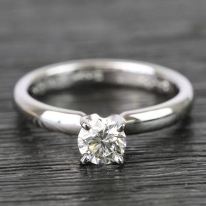 1.30Ct Round VVS1 Moissanite Simple Solitaire Engagement Ring 14K White Gold Plated