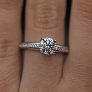 1.38CT Round Moissanite Channel Set Best Engagement Ring In 925 Starling Silver