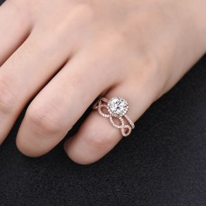 1.83CT Round Moissanite Engagement Ring Infinity Matching Band Solid 14K Rose Gold