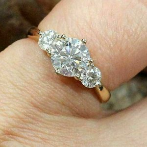 3-Stone 2.30CT Brilliant Moissanite Beautiful Engagement Ring 14K Yellow Gold Plated