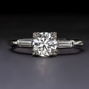 1.50CT Round Moissanite Side Baguette Engagement Ring Real 925 Starling Silver
