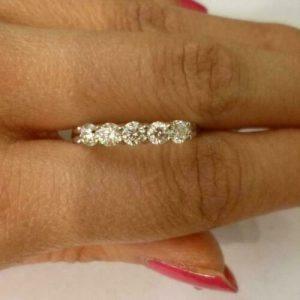 1.80CT Round Cut Moissanite 5-Stone Anniversary Wedding Ring 925 Starling Silver