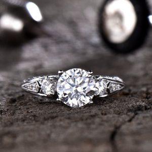 Art Deco Vintage 2.10CT Round Moissanite Engagement Ring 14K White Gold Plated