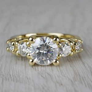 5-Stone 2.CT Near White Round Moissanite Unique Engagement Ring 14K Yellow Gold Over