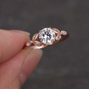2.00CT Solitaire Round Moissanite Beautiful Engagement Ring Solid 14K Rose Gold
