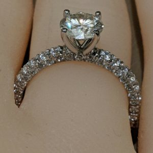 1.47CT Solitaire Round Moissanite 3-Row Assents Engagement Ring Real 925 Starling Silver