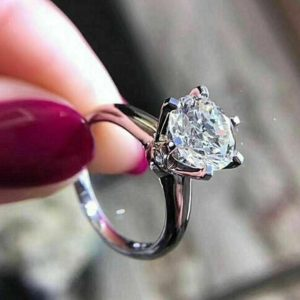 Gorgeous 3.00CT Round Brilliant Moissanite Solitaire Engagement Ring Solid 14K White Gold
