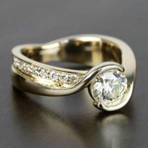 1.50CT Half Bezel Brilliant Cut Moissanite Engagement Ring 14K White Gold Plated
