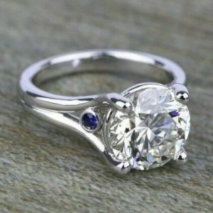 2.25CT Round Moissanite Blue Sapphire Diamond Engagement Ring Solid 14K White Gold