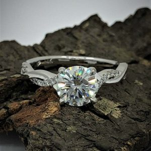 Infinity Engagement Ring 1.63CT Round Solitaire Moissanite Ring 925 Starling Silver