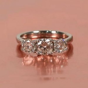 1.86CT Unique 3-Stone Brilliant Moissanite Engagement Ring Real 925 Starling Silver