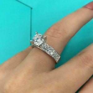 1.50CT Excellent Cut Moissanite 2-Row Accents Engagement Ring Solid White Gold