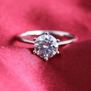 1.50CT Round Moissanite Solitaire 6-Prong Engagement Ring Real 925 Starling Silver