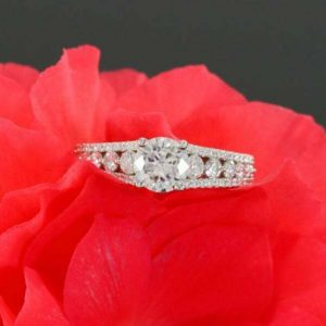1.43CT Round Near White Moissanite Beautiful Bridal Engagement Ring Solid 14K White Gold