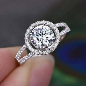 1.50CT Round Moissanite Classic Halo With 2-Shank Engagement Ring 14K White Gold Plated