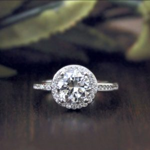 1.50CT Round Moissanite Classic Halo Engagement Ring Solid 14K White Gold