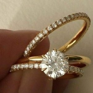 1.50CT Brilliant Cut Moissanite Luxurious Engagement 3 Pieces Ring Set Solid 14K Yellow Gold