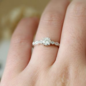 1.30CT Near White Round Moissanite Best Engagement Ring Real 925 Starling Silver