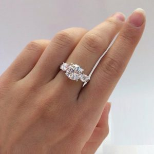 3-Stone 2.43CT Round VVS1 Moissanite Engagement Ring Real 925 Starling silver