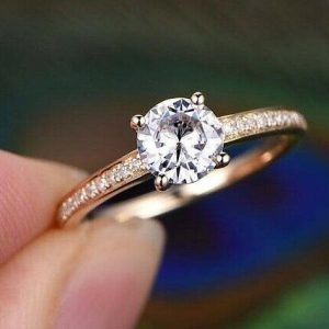 1.58CT Brilliant Cut Moissanite Solitaire With Accents Engagement Ring 14K Yellow Gold Plated