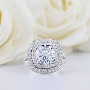 1.36CT Round Brilliant Moissanite Double Halo Engagement Ring 14K White Gold plated