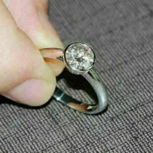 Bezel Set 1.50CT Forever Round Moissanite Engagement Ring 14K White Gold Over