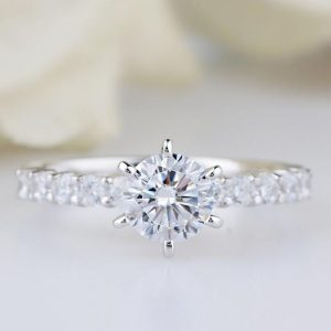 1.30Ct Solitaire 6-Prong Round Moissanite Pave Accents Engagement Ring Real 925 Starling Silver