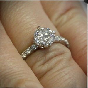 Forever 1.25Ct Round Moissanite Solitaire With Accents Engagement Ring ,2-Tone Ring 14K White Gold Plated